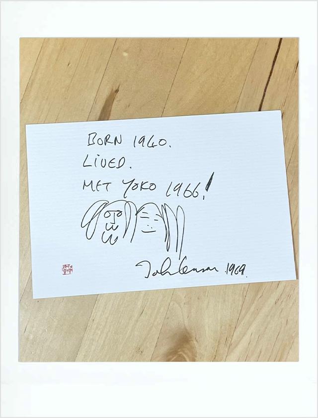 ジョン・レノンが描いたイラストのポストカード
